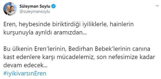 Son dakika... Bakan Soyludan Eren Bülbül paylaşımı