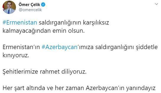 AK Partili Çelik: Ermenistanın Azerbaycanımıza saldırganlığını şiddetle kınıyoruz