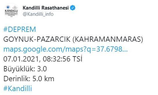 Son dakika... Kahramanmaraşta 3.0 büyüklüğünde deprem