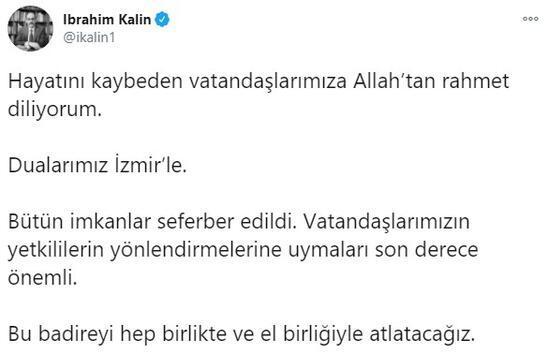 Cumhurbaşkanlığı Sözcüsü İbrahim Kalın: Bu badireyi el birliğiyle atlatacağız