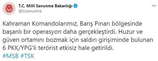 Son dakika... Barış Pınarı bölgesinde 6 terörist etkisiz hale getirildi