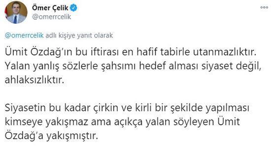 Son dakika... AK Partili Ömer Çelikten Ümit Özdağa tepki