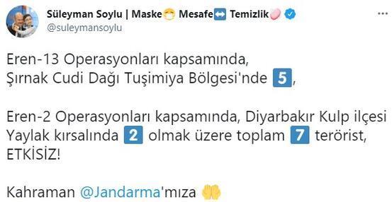 Son dakika... Bakan Soylu duyurdu Şırnak ve Diyarbakırda 7 terörist etkisiz hale getirildi