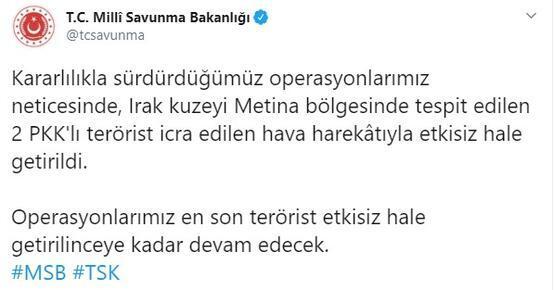 Metina bölgesinde 2 PKKlı etkisiz hale getirildi