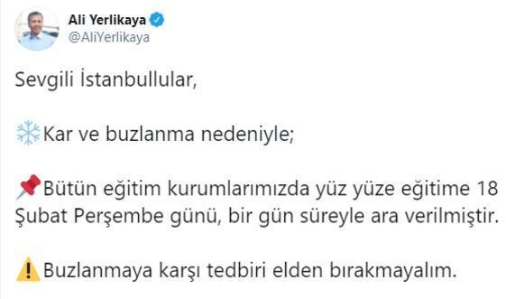 Son dakika... Vali Yerlikaya duyurdu İstanbulda eğitime 1 gün ara verildi