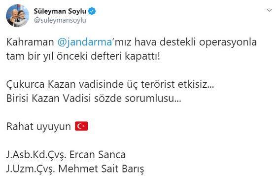 Son dakika I Kazan vadisinde 3 terörist etkisiz hale getirildi