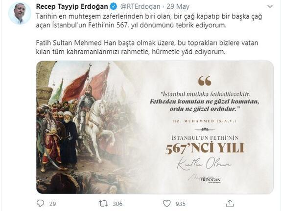 Son dakika... Cumhurbaşkanı Erdoğan'dan İstanbul'un Fethi mesajı