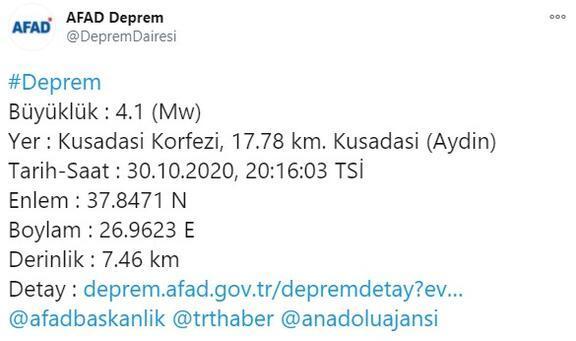 Son dakika I Kuşadasında 5.1 büyüklüğünde deprem