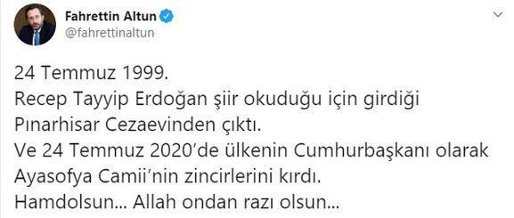 İletişim Başkanı Fahrettin Altundan dikkat çeken Ayasofya Camii paylaşımı