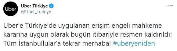 Son dakika... Uberden flaş Türkiye açıklaması Erişim kaldırıldı