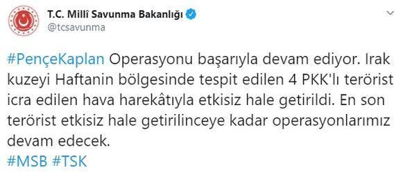 Son dakika... MSB duyurdu Haftaninde 4 PKKlı etkisiz hale getirildi