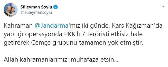 Son dakika... İçişleri duyurdu Karsta PKK grubu tamamen yok edildi