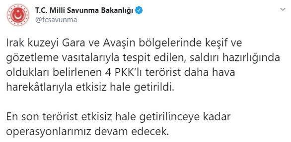 Son dakika... Gara ve Avaşine operasyon 4 PKKlı etkisiz hale getirildi