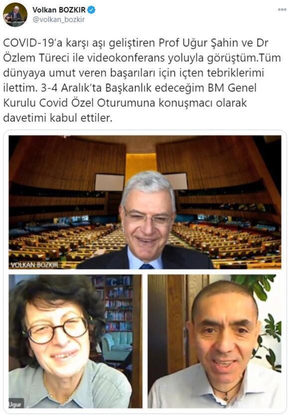 BM Genel Kurulu Başkanı Volkan Bozkırdan Uğur Şahin ve Özlem Türeciye davet