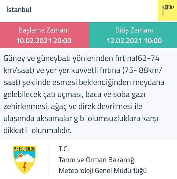 MGMden son dakika İstanbul için fırtına uyarısı