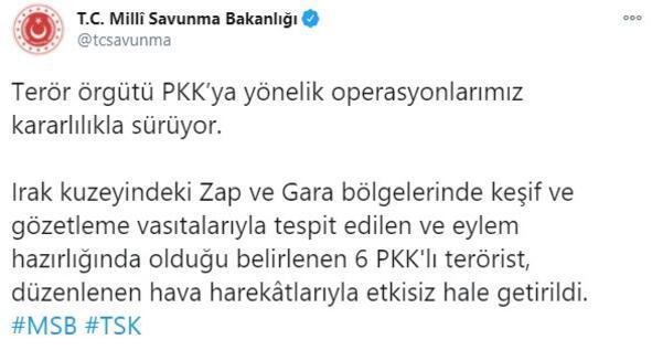 Son dakika... Zap ve Garada 6 PKKlı etkisiz hale getirildi