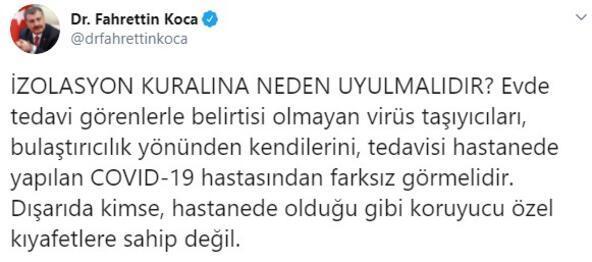 Sağlık Bakanı Fahrettin Kocadan izolasyon uyarısı