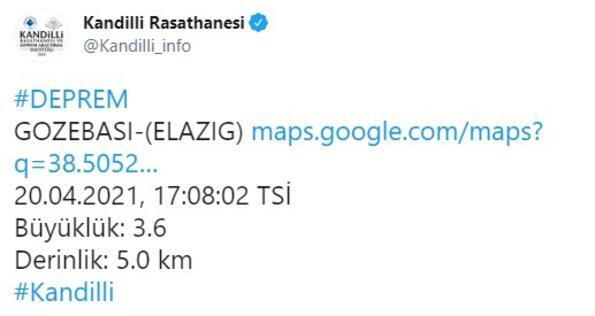 Elazığda 3.6 büyüklüğünde deprem Kandilliden açıklama yapıldı