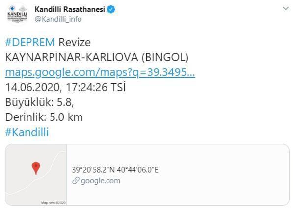 Son dakika: Bingölde 5.8 büyüklüğünde deprem