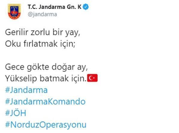 Jandarma, operasyondaki komandonun fotoğrafını paylaştı
