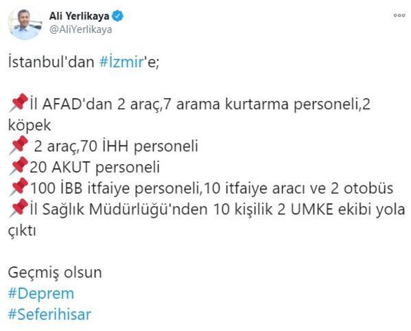 İstanbul Valiliği, İzmire yardım ve destek personeli yolladı