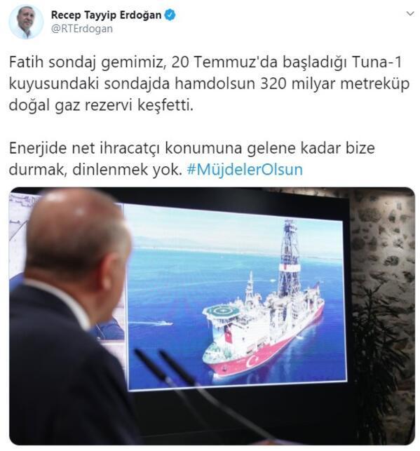 Doğal gaz müjdesi sonrası Cumhurbaşkanı Erdoğandan flaş paylaşım