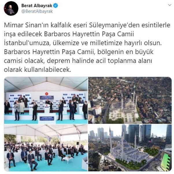 Bakan Albayraktan Barbaros Hayrettin Paşa Camii paylaşımı