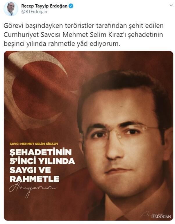 Cumhurbaşkanı Erdoğandan Savcı Kiraz paylaşımı