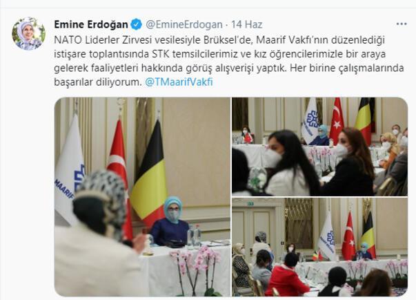 Emine Erdoğan, Belçika'daki Türk STK'ları temsilcileriyle görüştü