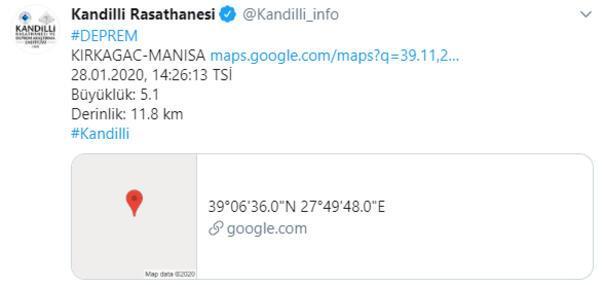 Son dakika... Manisada 5.1 büyüklüğünde deprem