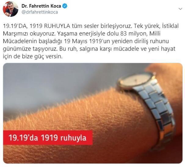 Sağlık Bakanı Kocadan 19.19 paylaşımı