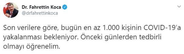 Bakan Kocadan son dakika açıklaması Bugün en az 1000 kişi yakalanacak