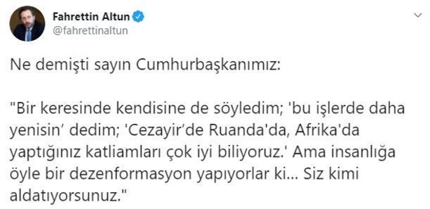 İletişim Başkanı Fahrettin Altun Cumhurbaşkanı Erdoğan paylaşımı