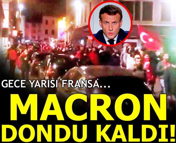 Gece yarısı Fransa... Macron dondu kaldı!