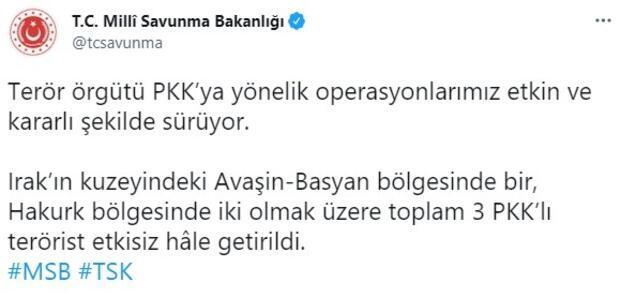 MSB: 3 PKKlı terörist etkisiz hale getirildi