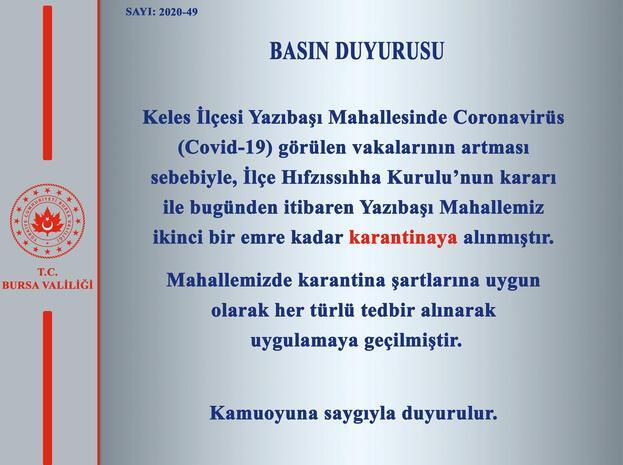 Bursa Valiliği açıkladı Bir köy karantinaya alındı