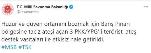 Son dakika... Barış Pınarı bölgesinde 3 terörist etkisiz hale getirildi