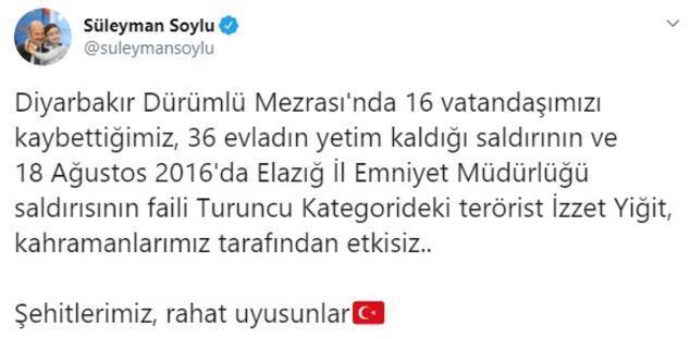 Son dakika: İçişleri Bakanı Soylu duyurdu Turuncu listedeki terörist etkisiz hale getirildi