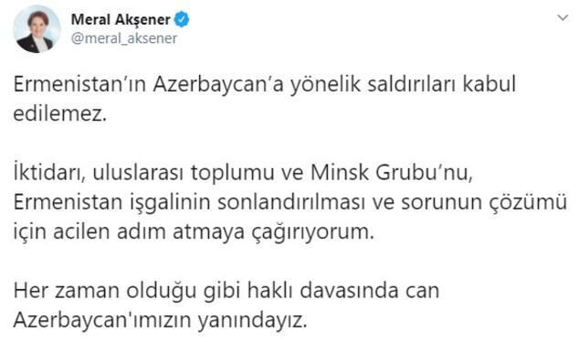 Meral Akşener: Can Azerbaycanımızın yanındayız
