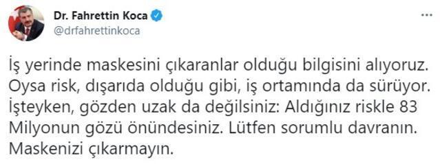 Sağlık Bakanı Fahrettin Kocadan çalışanlara maske uyarısı