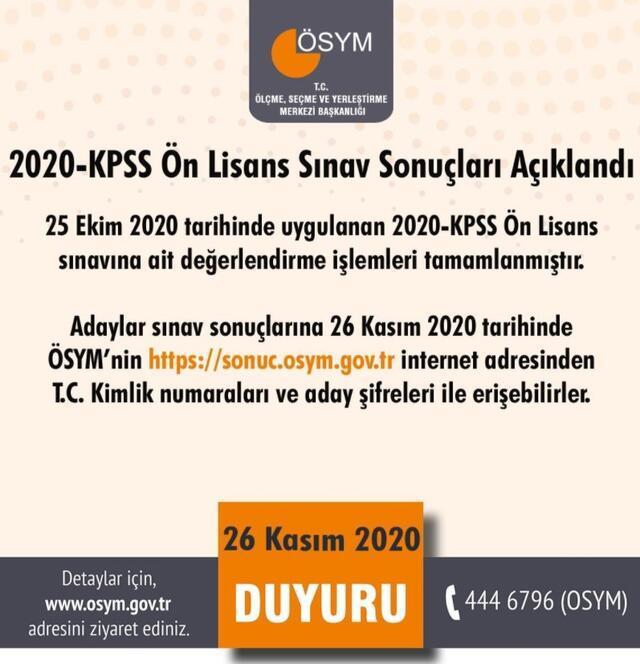 Son dakika... 2020-KPSS Ön Lisans sonuçları açıklandı