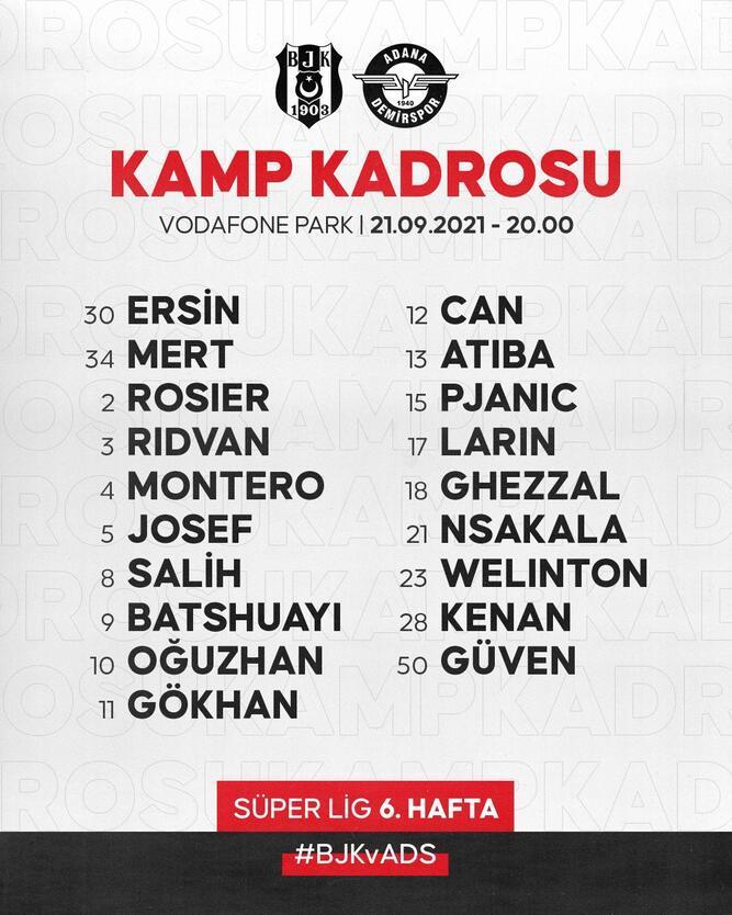 Son dakika - Beşiktaşın Adana Demirspor maçı kamp kadrosu açıklandı