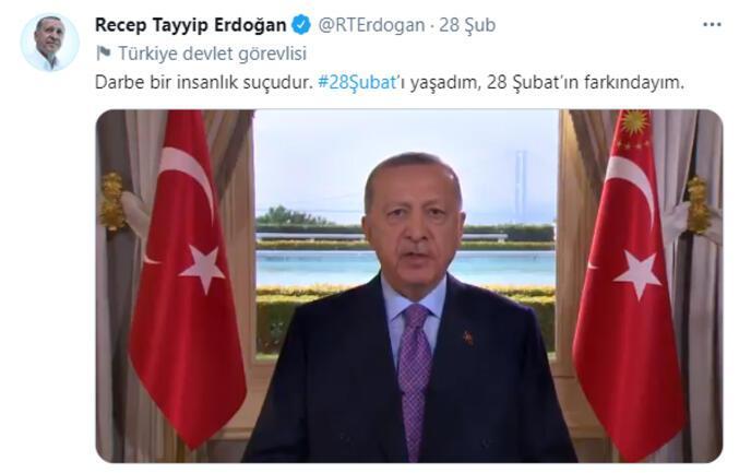 Son dakika... Cumhurbaşkanı Erdoğandan 28 Şubat mesajı