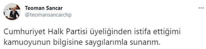 Son dakika... CHPde bir istifa daha Teoman Sancar duyurdu