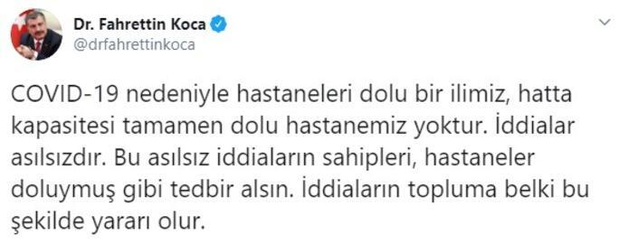 Son dakika... Sağlık Bakanı Fahrettin Koca duyurdu: İddialar asılsızdır