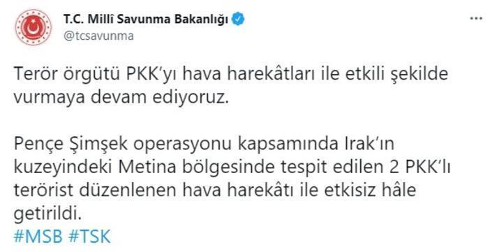 MSB: Irakın kuzeyinde 2 PKKlı etkisiz hale getirildi