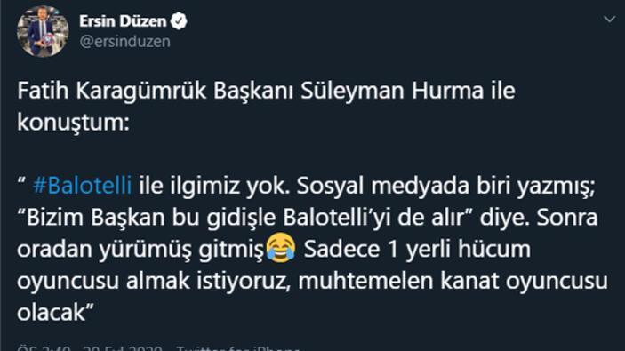 Transfer haberleri | Karagümrük için Balotelli iddiası Ersin Düzen açıkladı...