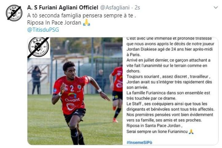 AS Furiani formayı giyen Jordan Diakiese hayatını kaybetti