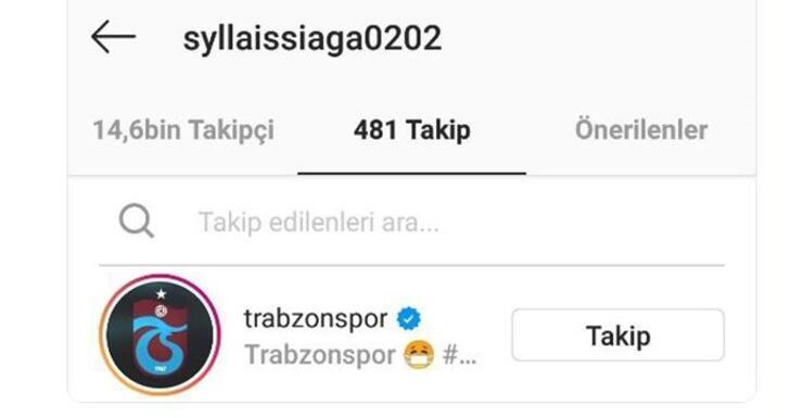 Sylla, Trabzonsporu sosyal medyadan takibe aldı