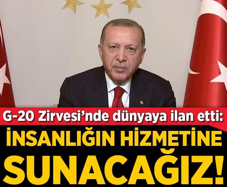 Son dakika! Cumhurbaşkanı Erdoğan G-20 zirvesinde ilan etti: İnsanlığın hizmetine sunacağız